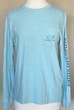 Vineyard Vines Long Sleeved Pocket Tee Heather Aqua Blue Whale Unisex Men's Sz S