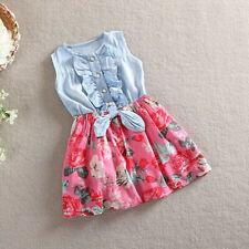 Toddler Kids Child Girls Denim Bowknot Print Sleeveless Princess Party Dresses