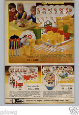 1971 PAPER AD Diishes Toy Soup Mug Campbell Plastic Peanuts Tea Cups Tray Pot