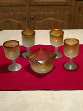 Hand Blown Art Glass Stemware, Cluthra type ? 1 Square Bowl 4 Goblets Very Nice