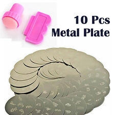 10X Vogue Nail Art Stamps Print Design Metal Plate With Stamper Transfer Kit New