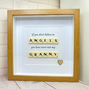 Scrabble Letter Picture in a  Wood Effect Box Frame with a Granny Quote