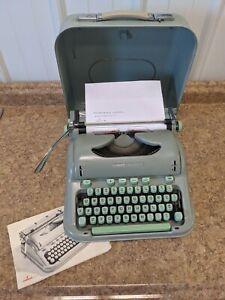Hermes 3000 1962 Manual Typewriter Seafoam Cursive Portable Switzerland Case