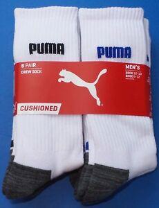 Puma Men's Crew Socks Large 6 Pack White Black Blue Cushioned Stretch Mesh New