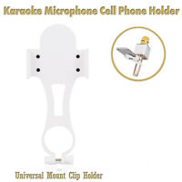 MagiDeal Karaoke Microphone Mic Stand Phone Holder for iPhone Samsung White