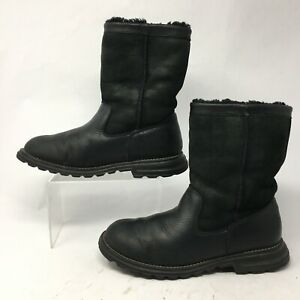UGG Australia Womens 8 Brooks Pull On Winter Shearling Boots Black Leather 5381