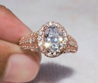 2.50ct Oval Cut White VVS1 Diamond Halo Engagement Ring 14K Solid Rose Gold Over