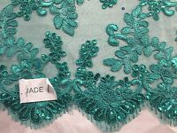 Lace Fabric - Embroidered Corded Flowers With Sequins On A Mesh Teal By The Yard