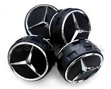 4 x AMG MERCEDES BENZ BLACK ALLOY WHEEL CENTRE CAPS NEW RAISED DESIGN STYLE