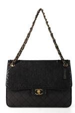 Chanel женская стеганая металлический замшевая счастливый стежок клапан сумка черный