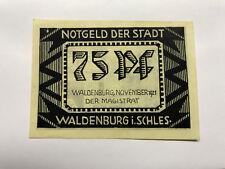 1921 Germany Notgeld 75 Phennig Waldenburg Unc. #10233