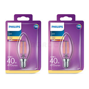 3er-set Philips DEL bougie e14 4.3 W 470 lm Warmweiss 2700k Filament Comme 40 W