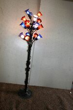FRENCH REPRODUCTION  ART DECO WROUGHT IRON FLOOR LAMP & BLOWN GLASS SHADES #3