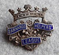 Silver and enamel badge, Barnardo Helpers League, Hallmark 1937, 26.4 mm wide.