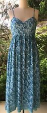 Anokhi Aqua & Blue Paisley Nightie/Sundress, 100% Cotton
