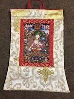 Tibetan Budhist Silk Brocade white tara small wall hanging/Thangka/ Banner/Nepal