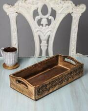 Wooden Serving Tray Platter for Tea Snack Dessert with Handle Hand Carved Floral
