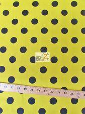 "BIG POLKA DOT POLY COTTON PRINT FABRIC-Yellow/Black Dots-SOLD BTY 58""/59"" - P140"