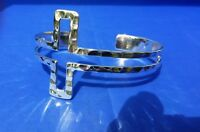 "Taxco 925 Sterling Silver Hammered Open Cross Bracelet Bangle 2.5"" Mexico"