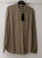 Ladies M&S Sizes 8 10 12 14  Lyocell Long Sleeve Blouse Shirt Bnwt Soft Khaki