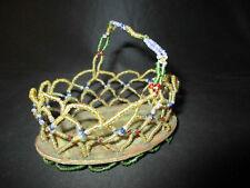 ancien travail de perle panier souvenir de communion début XX ème