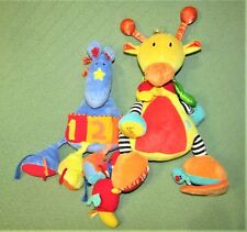 Jelly Kitten BABY PLUSH Activity Toy Lot BLUE HORSE & YELLOW GIRAFFE  Stuffed