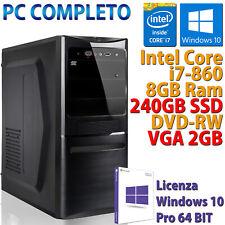 COMPUTER ASSEMBLATO NUOVO PC FISSO DESKTOP CORE i7-860 RAM 8GB SSD 240GB WIN 10