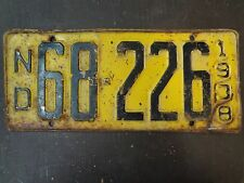 ND 1938 License Plate - 68-226-