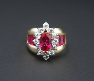 10k Yellow Gold Marquise Ruby White Topaz Halo Cocktail Ring Size 10.5 RG2890