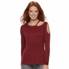 Rock & Republic Metallic Garden Cabernet Red Cutout Top Shirt Women Small S $48