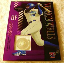 VERNON WELLS 2003 LEAF LIMITED THREADS JERSEY BUTTON #15 SERIAL #1/6 BLUE JAYS