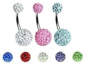 Ferido Crystal Belly Bar - Choose: Colour, Size & Length: 6mm 8mm 10mm 12mm 14mm