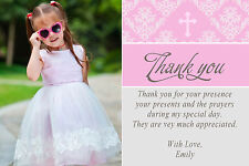 30 Cards Girl Baptism Christening Communion Thank You Notes Pink Personalized A1