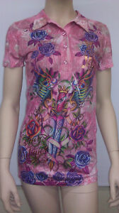 Original Christian Audigier Dagger Women Polor Shirt  (New With Tag)  Retail $99