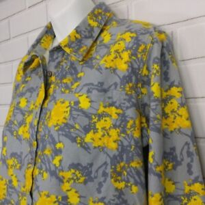 Gray Yellow Brushed Pima Cotton Flannel Long Sleeve Abstract Floral Print Large