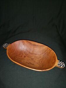 Beautifully Hand Carved Medium Sized Oval Bowl, Bone Handles, Olive Wood, Kenya