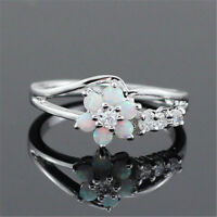 Women 925 Silver Flower White Fire Opal Gemstone Fashion Jewelry Ring Size 5-11