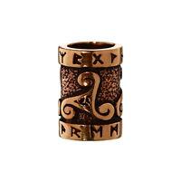 Haarschmuck Bartperle TRIRUNA Triskel mit Runen Bronze Lockenperle 6414