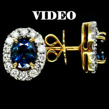 NATURAL 1.72K BLUE SAPPHIRE,AAA REAL 0.6K 28 PCS DM, 4.9G REAL GOLD 90% EARRINGS