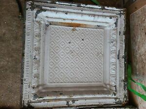"""Lot of 20 Antique Original 24x24"""" Metal Tin Ceiling Tile Salvaged Reclaim"""