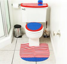 4th of July Decorations Patriotic Toilet Seat Cover & Rug Bathroom D├�cor Set