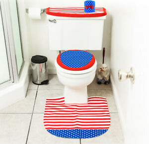 4th of July Decorations Patriotic Toilet Seat Cover & Rug Bathroom Décor Set