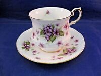 """QUEEN'S ROSINA CHINA TEA CUP AND SAUCER - """"VIOLETS"""" - MADE IN ENGLAND"""
