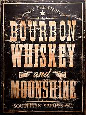 Bourbon Whisky Moonshine, Retro metal Aluminium Sign vintage Drink Alcohol Bar