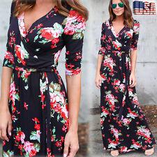 Women Floral Printed Boho V Neck Long Maxi Evening Party Beach Dress Sundress US