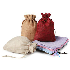 25/50/100PCS Burlap Gift Bags Drawstring Bag Jewelry Pouches Wedding Party Favor