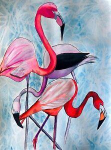 ORIGINAL ART - Pink Flamingos watercolour