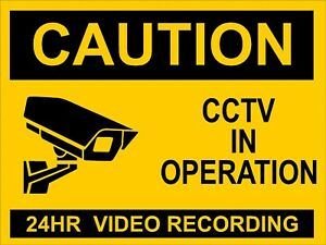 CCTV RECORDING SIGN - 24Hr in Operation Sign for wall, windows, gates etc...