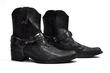Nuevo Para Hombres Caballeros Estilo Occidental Cowboys Tobillo Botas De Piel De Serpiente Negro Talla 7-12