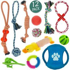 Dog Toys Puppy Cotton Rope Frisbee Healthy Teeth  Squeaker Fetch Ball Play Pk 12